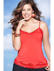 Seamless cami with floral lace by Lane Bryant